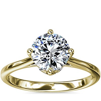 NEW East-West Solitaire Plus Diamond Engagement Ring in 14k Yellow Gold